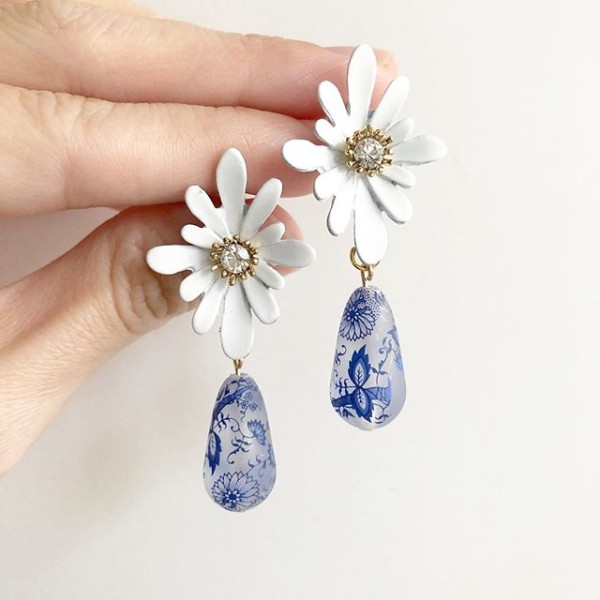 Frosted Porcelain Teardrop White Floral Earrings - Diary of a Miniature Enthusiast