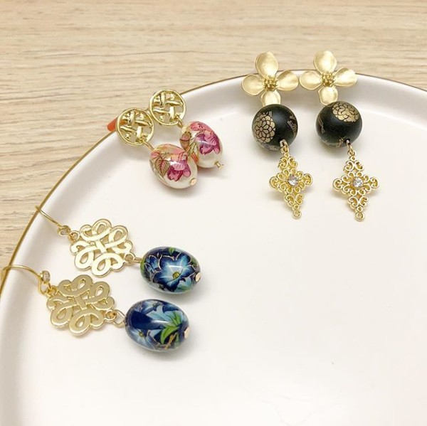 Gold, Red, Blue, Black Floral Earrings - Diary of a Miniature Enthusiast