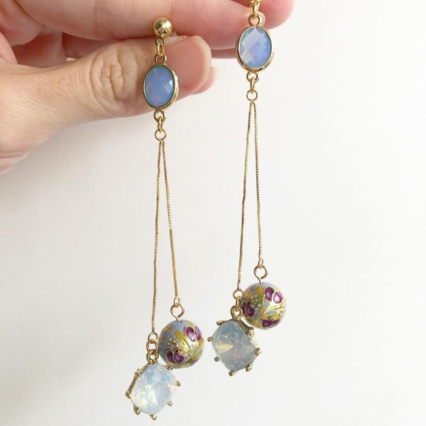 Purple Buds Baby Blue Long Dangle Earrings - Diary of a Miniature Enthusiast