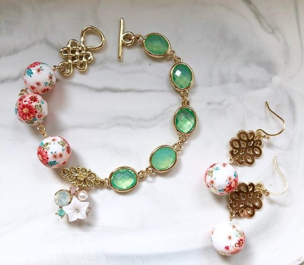 Tranquil Sakura Pink & Turquoise Asymmetrical Bracelet and Tranqu - Diary of a Miniature Enthusiast