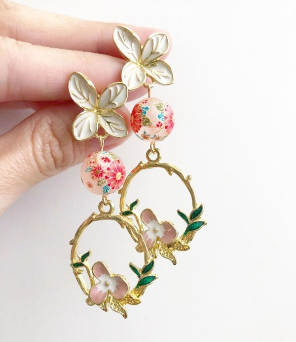 Frosted Pink Sakura Fairytale Earrings - Diary of a Miniature Enthusiast