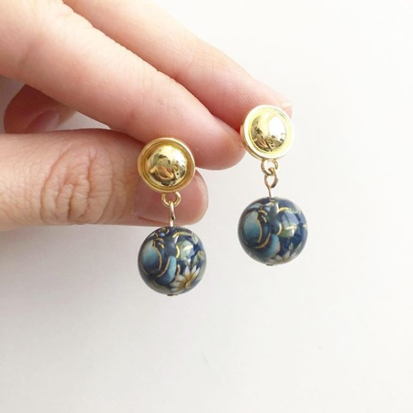 Navy Rose Gold Earrings - Diary of a Miniature Enthusiast