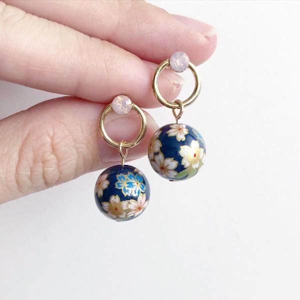 Navy Sakura Tensha Earrings - Diary of a Miniature Enthusiast