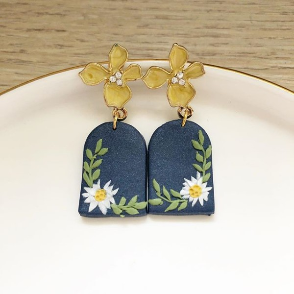 Night Chamomile Fields Arch Window Earrings - Diary of a Miniature Enthusiast