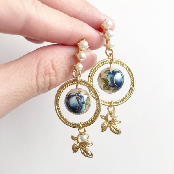 Pearl Blue Rose Leaf Earrings - Diary of a Miniature Enthusiast