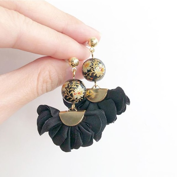 Black Daffodils Flare Earrings - Diary of a Miniature Enthusiast