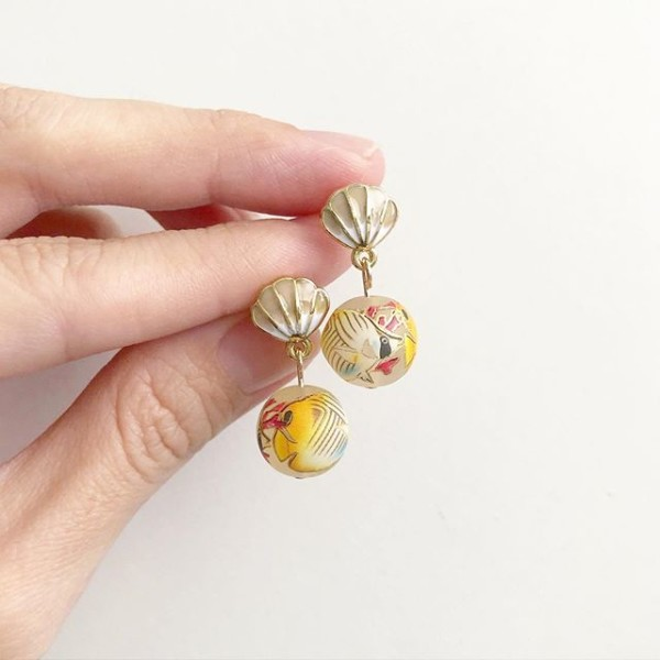Yellow Tang Shell Earrings - Diary of a Miniature Enthusiast