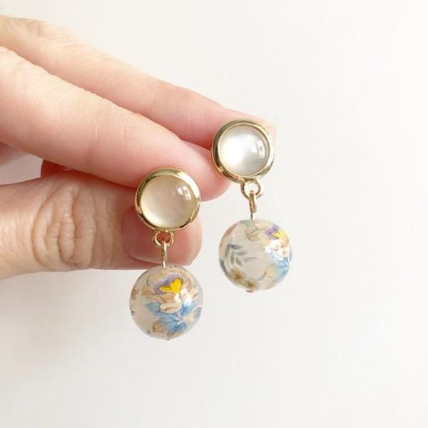 Opal Multicolored Camelia Earrings - Diary of a Miniature Enthusiast