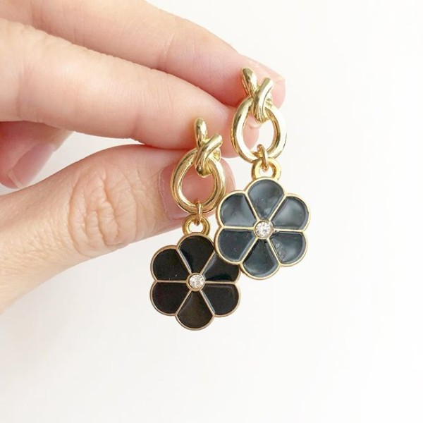 Gold and Black Floral Earrings - Diary of a Miniature Enthusiast