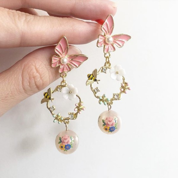 Garden Butterfly Opaline Blooms Long Floral Earrings - Diary of a Miniature Enthusiast