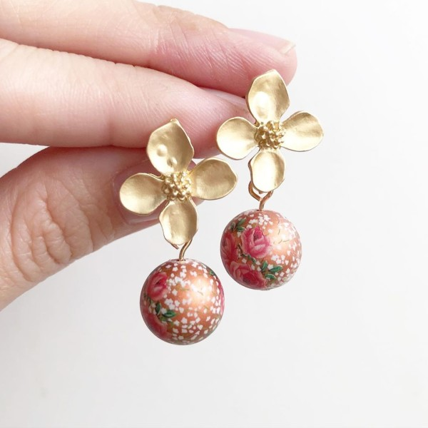 Triple Rose Metallic Copper Floral Earrings - Diary of a Miniature Enthusiast