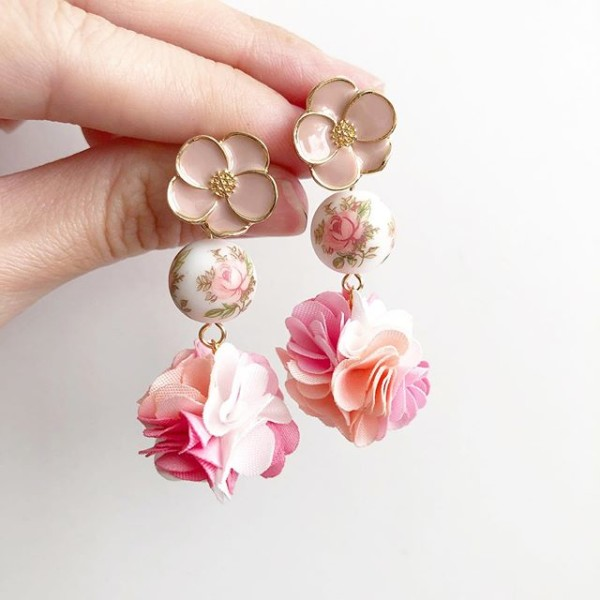 Pastel Rose Blossoms Pompoms Earrings - Diary of a Miniature Enthusiast