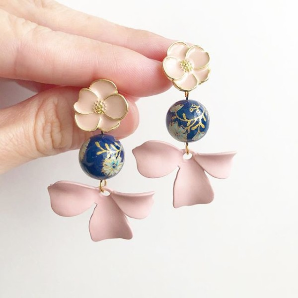 Navy Daffodils Blush Floral Petals Earrings - Diary of a Miniature Enthusiast