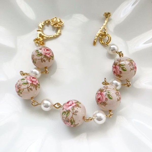 Pastel Pink Rose in Light Blush Pearls Bracelet - Diary of a Miniature Enthusiast