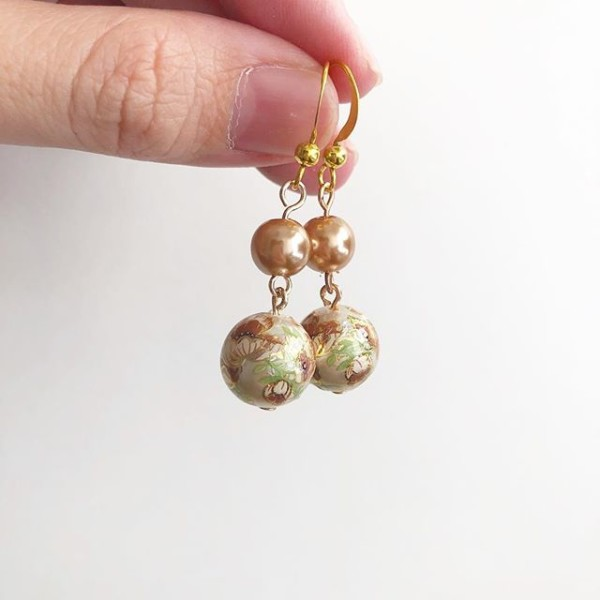 Taupe Floral Earrings - Diary of a Miniature Enthusiast