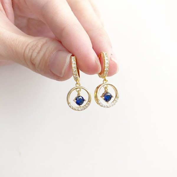 Precious Sapphire Drop Full Loop Earrings (Cubic Zirconia stones) - Diary of a Miniature Enthusiast