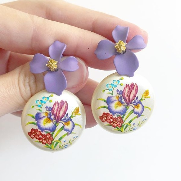Purple Wildflowers Floral Tensha Earrings - Diary of a Miniature Enthusiast