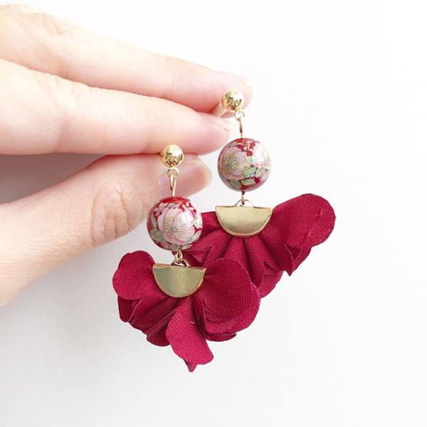 Wine Red Camelia Flare Earrings - Diary of a Miniature Enthusiast