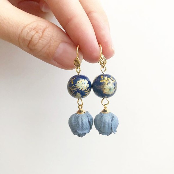 Navy Daffodils Bloom Earrings - Diary of a Miniature Enthusiast