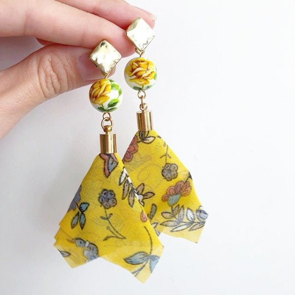 Yellow Rose Floral Organza Dangle Earrings - Diary of a Miniature Enthusiast