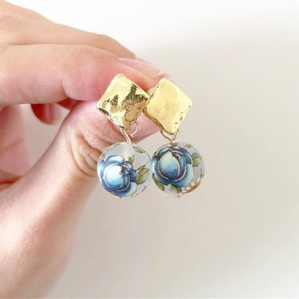 Blue and Gold Floral Earrings - Diary of a Miniature Enthusiast
