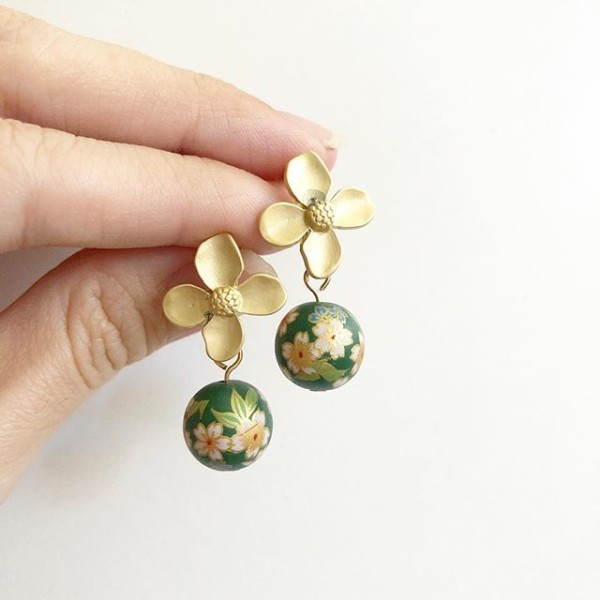 Green Sakura Floral Earrings - Diary of a Miniature Enthusiast
