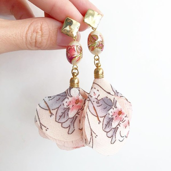 Pink Double Lily Floral Organza Flare Earrings - Diary of a Miniature Enthusiast