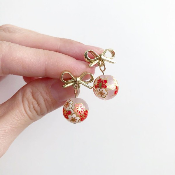 Frosted Plum Blossoms Bow Studs - Diary of a Miniature Enthusiast