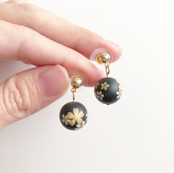 Black Sakura and Gold Earrings - Diary of a Miniature Enthusiast