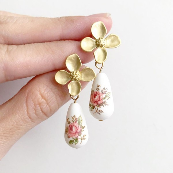 Pastel Pink Rose Teardrop Matte Floral Earrings - Diary of a Miniature Enthusiast