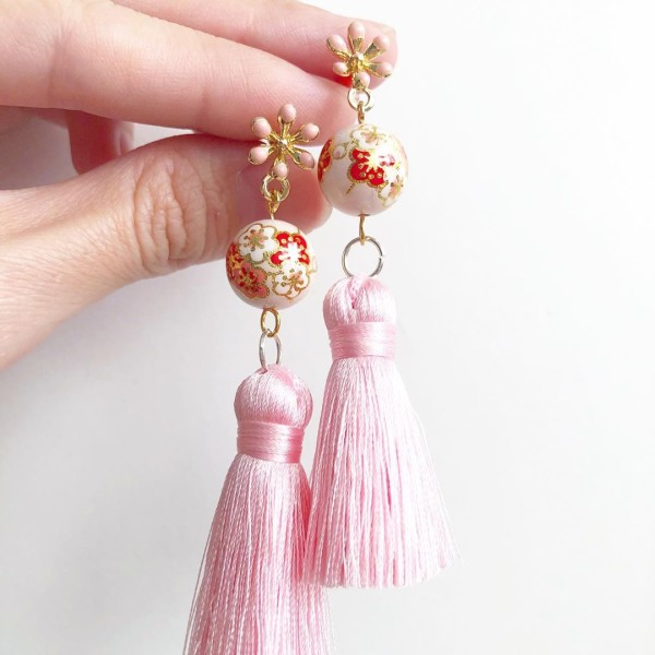 Pale Blush Plum Blossoms Silk Tassels - Diary of a Miniature Enthusiast