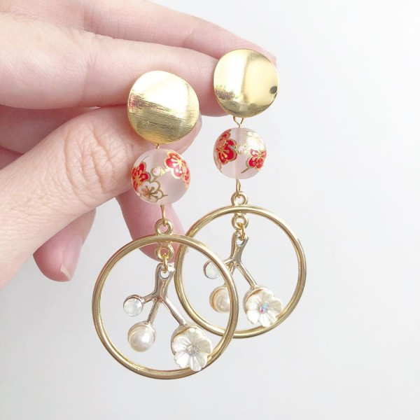 Frosted Plum Blossoms Spring Earrings - Diary of a Miniature Enthusiast
