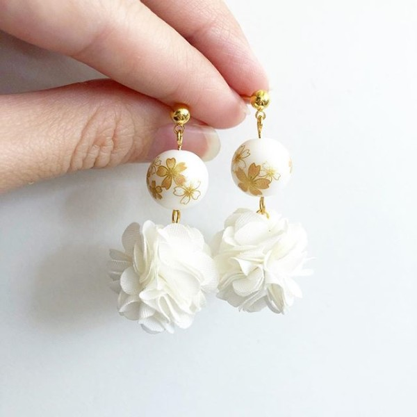 White Sakura Pompoms Earrings - Diary of a Miniature Enthusiast