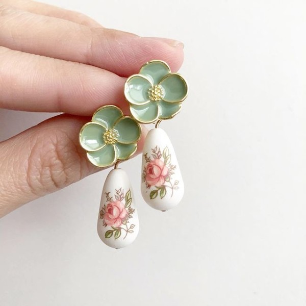Pastel Pink Rose Teardrop Green Floral Earrings - Diary of a Miniature Enthusiast