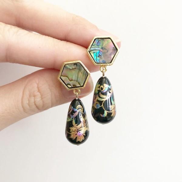Mystic Swirls II Hexagon Teardrop Earrings - Diary of a Miniature Enthusiast