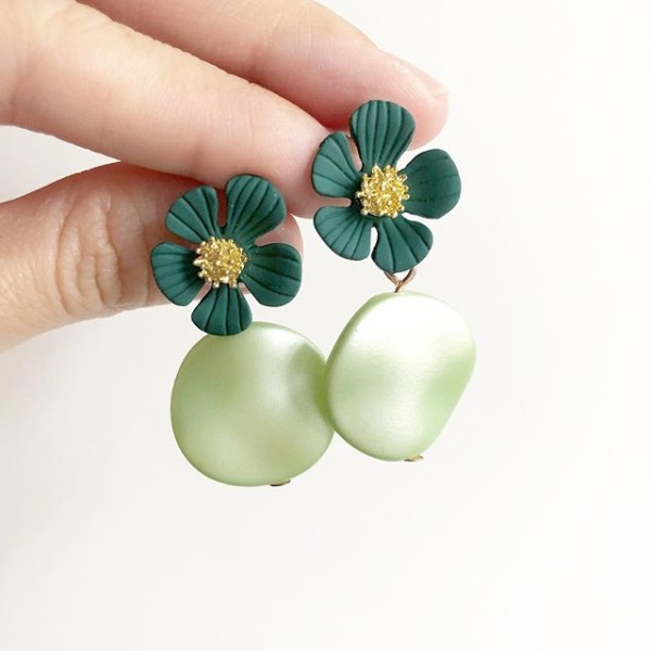 Green Floral Earrings - Diary of a Miniature Enthusiast