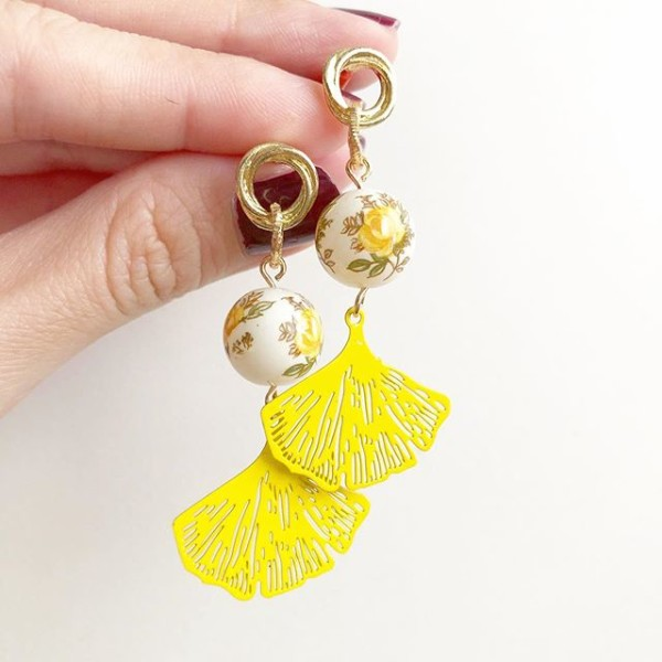 Pastel Yellow Floral Filigree Earrings - Diary of a Miniature Enthusiast