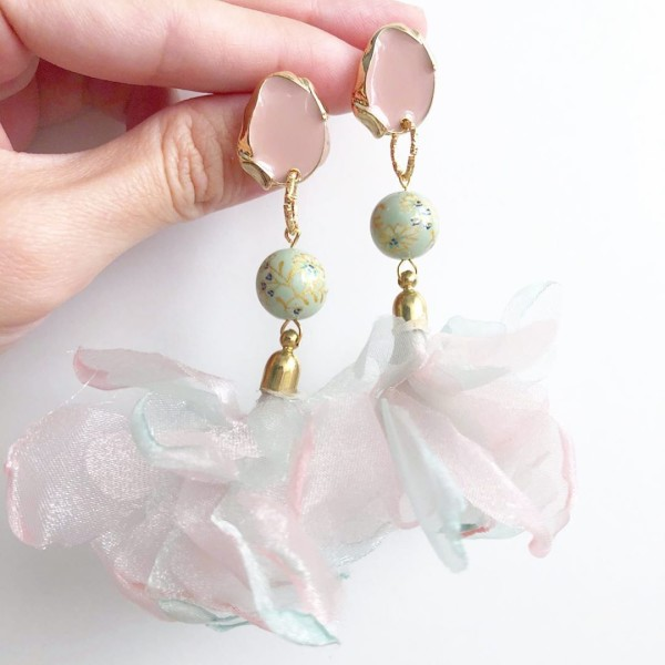 Sage Daffodils Organza Earrings - Diary of a Miniature Enthusiast