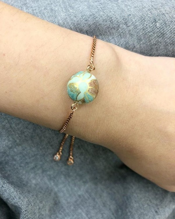 Matte Based Ocean Blue Petal Floral Bracelet - Diary of a Miniature Enthusiast