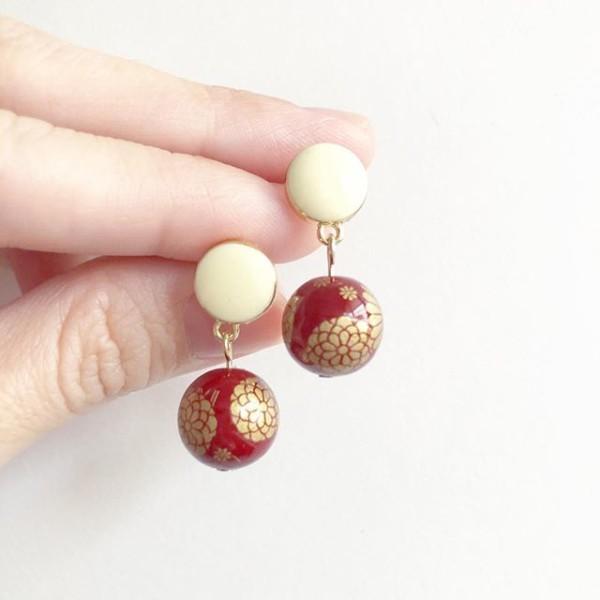 Wine Red Kimono Cream Earrings - Diary of a Miniature Enthusiast