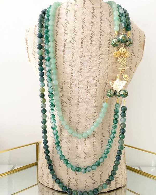 Green Multi Strand Necklace - Diary of a Miniature Enthusiast