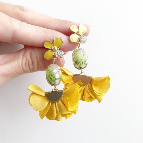 Yellow Flare Floral Earrings  - Diary of a Miniature Enthusiast