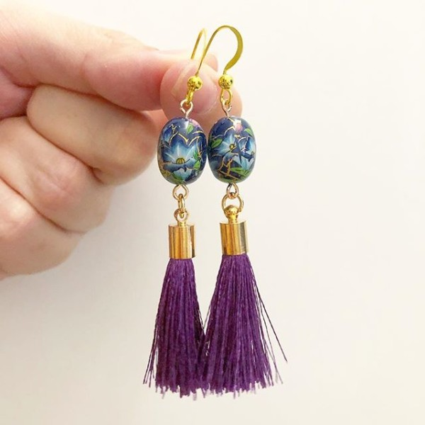 Blue Lillies with Purple Tassels Earrings - Diary of a Miniature Enthusiast