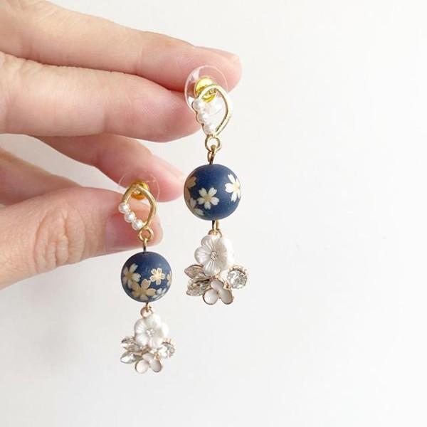 Navy Blue Sakura Floral Earrings - Diary of a Miniature Enthusiast