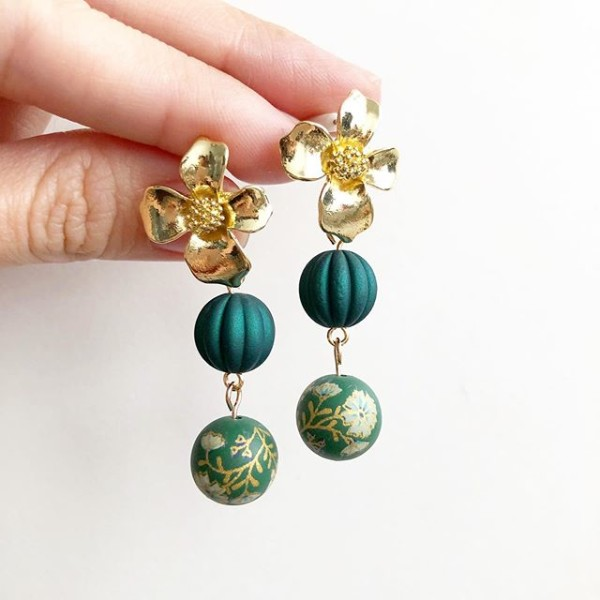 Emerald Green Daffodils Floral Earrings - Diary of a Miniature Enthusiast