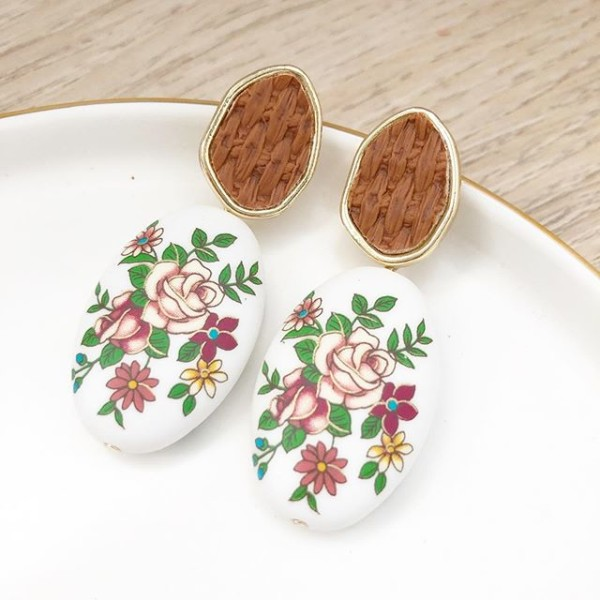 Vintage Rose Statement Tensha Earrings - Diary of a Miniature Enthusiast