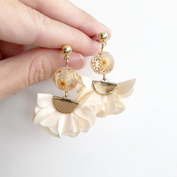 Frosted Daffodils on Cream Flare Earrings - Diary of a Miniature Enthusiast