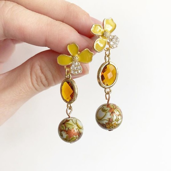 Yellow and Brown Floral Earrings - Diary of a Miniature Enthusiast