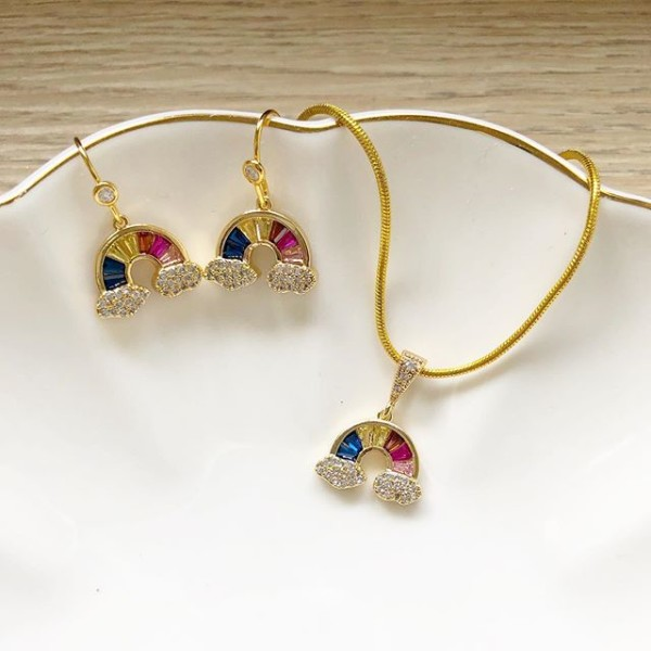 Rainbow CZ Necklace & Earrings set - Diary of a Miniature Enthusiast