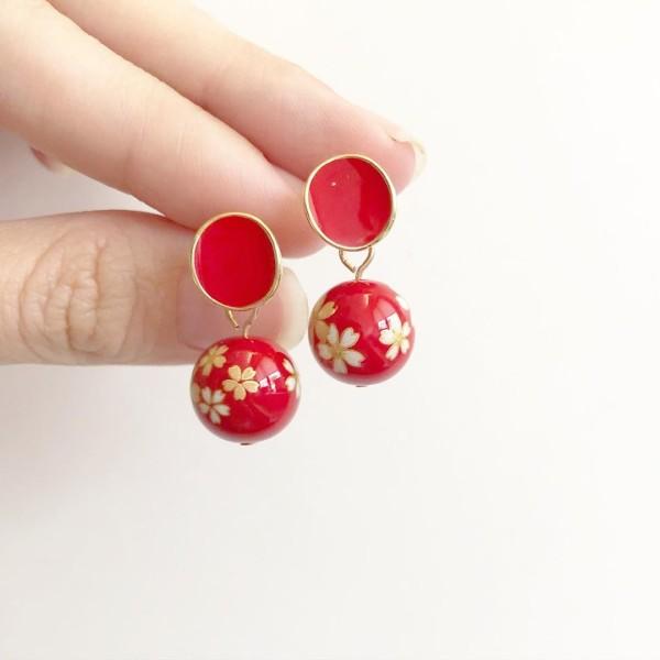 Red Sakura Plain Red Earrings - Diary of a Miniature Enthusiast